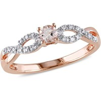 Tangelo 1/6 Carat T.G.W. Morganite and Diamond-Accent Rose Rhodium-Plated Sterling Silver Infinity Ring - Walmart.com