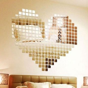 100 Piece Self-adhesive Mirror Tile 3D Wall Sticker Decal Mosaic Room Decor Stick On Modern Self-adhesive Mirror Tiles Stickers