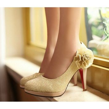 Womens  Bling Bling Flowers High Heel Pumps - Wedding Shoes