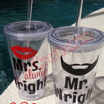 Mr. and Mrs. Right Mustache Tumblers - 16 oz Personalized Tumbler