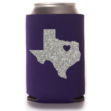 Glitter Texas TCU Love Purple Can Cooler