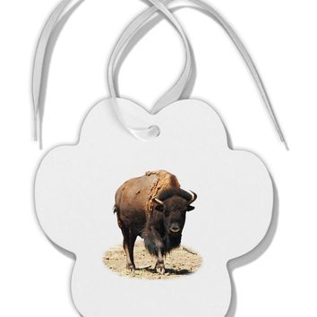 Strong Bison Cutout Paw Print Shaped Ornament