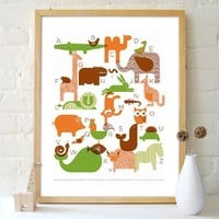 Supermarket - Animal Alphabet Silkscreened Poster from Petit Collage
