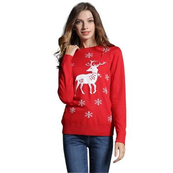 Women's Ugly Christmas Sweater Pullovers Autumn Long Sleeve Cute Girls Reindeer/Snowman Pattern Knit Xmas Party Pullover Jumper