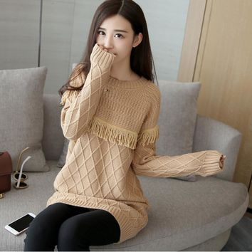 2016 autumn new Women long sections simple round neck hedging word chest tassel sweater female sweater