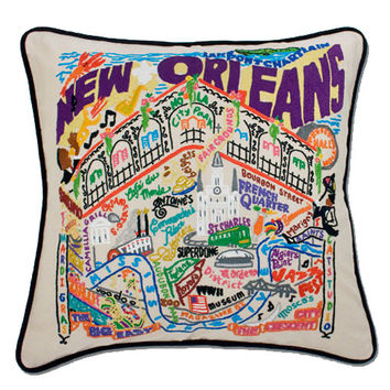 New Orleans Hand Embroidered Pillow