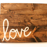 Custom Stained Love Sign, Wooden sign, Wall decor, Handmade Sign