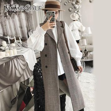 TWOTWINSTYLE Plaid Waistcoat For Women's Sleeveless Jackets V Neck Double Breasted Slim Long Vest Famale Jackets Clothing