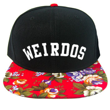 Weirdos Garden Snapback Hat in Black & Red Floral