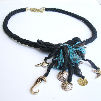 Black nautical rope knot necklace, fringed marine jewelry, beach finding