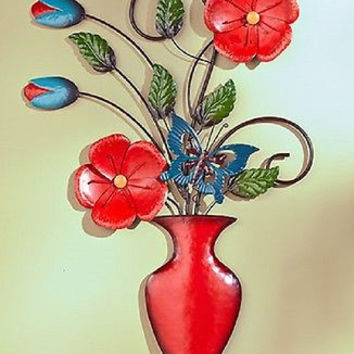 Wall Sculpture Flowers Vase Metal Nature Large Red Blue Decor Accent Home NEW