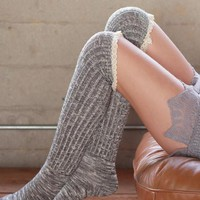 Right for the Occasion Knit Boot Socks - Grey