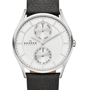 Skagen Mens Holst Day/Date Watch - Stainless Steel - Black Leather Strap