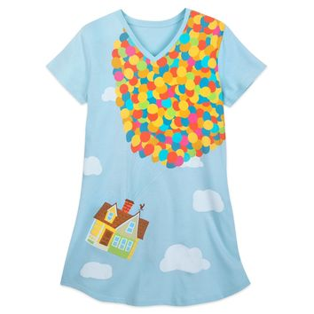 Authentic Disney Store NIGHTSHIRT for Women UP BALLOONS Long T Shirt Size: XS/S