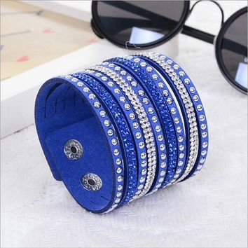 New Womens Simple Cuff Leather Girls Crystal Wrap Punk Bangle Rhinestone Bracelet Jewelry Gift Party