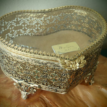 3 DAY SALE Matson Jewelry Box 24 Karat Gold Plated Ornate Ormolu Filagree Heart Shaped / Vintage 50s Vanity by Feisty Farmers Wife