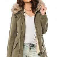Albany Parka in Olive - ShopSosie.com