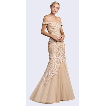 Off-Shoulder Mermaid Style Long Prom Dress Champagne