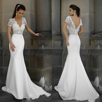Short Sleeves Lace Bodice Wedding Dress Slim Spring Bridal Dress Gown