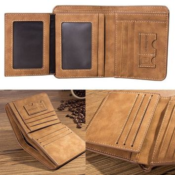 Mens Leather Bifold Wallet Slim Hipster Cowhide Credit Card and Inserts