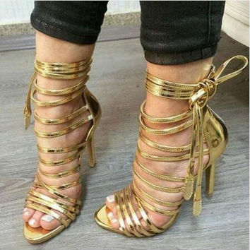 Hot Selling Women Fashion Open Toe Gold Leather Straps Design High Heel Sandals Lace-up Leisure Gladiator Sandals Dress Shoes
