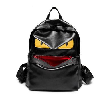 2017 New Leather Demon Eyes Little Monster Backpack Women Men School Bags Hip-Hop Daypack Revet Belts Knapsack