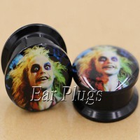ac DCCKO2Q 1 pair bettlejuice ear plug gauges tunnel acrylic screw flesh tunnel body piercing jewelry PAP0586