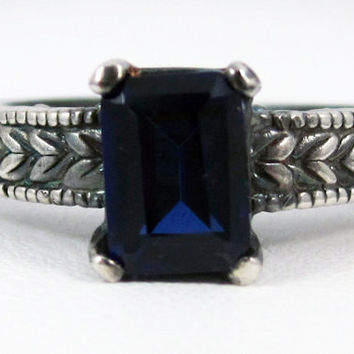 Oxidized Blue Sapphire Emerald Cut Ring Sterling Silver, September Birthstone Ring, Emerald Cut Blue Sapphire Ring, 925 Oxidized Sterling