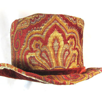 Paisley Top Hat in Rust and Gold with Rust Velvet Band