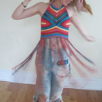 FESTIVAL FRINGE TOP, Hippie rainbow top, festival clothing, crochet halter top, Elongated fringe top, gypsy clothing, Hippie, bohemian