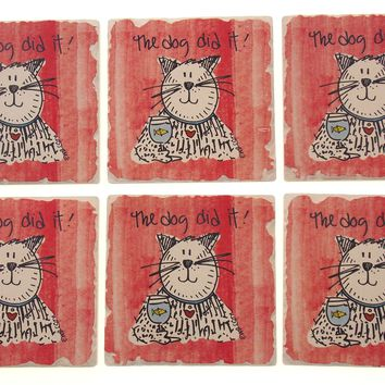 Cat Theme Tumbled Tile Coasters Set 6 CounterArt Absorbent Stone