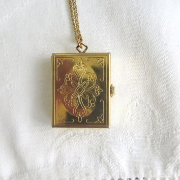 """Victorian Revival Locket, Four Photo Locket, 18"""" Chain, Etched Book Locket"""
