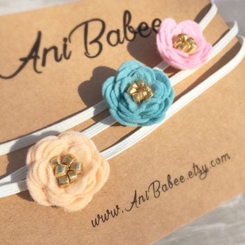 Teal and Gold Felt Flower Headband, Baby Felt Flower Headband Set, Pink and Gold Felt Flowers, Peach and Gold Felt Flowers, Felt Headbands