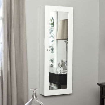 Wall Mounted Wood Jewelry Cabinet Armoire in Gloss White