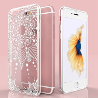 Cute Luxury Flower Floral Pattern Soft TPU Case For iPhone6 6S 4.7 / Plus 5.5 Transparent Clear Cover Sexy Lace Totem Henna Capa