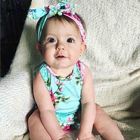 Baby Romper Vintage Baby Girls Floral Baby Swag Rompers with Headband baby girl clothes