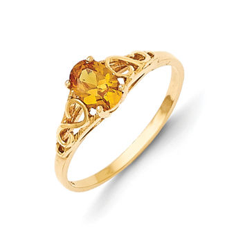 Size 5 14K Yellow Gold Oval Synthetic Citrine Birthstone Girls Ring