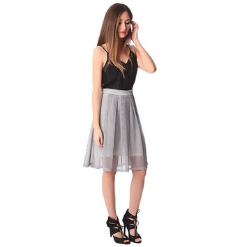 Gray mesh midi skirt with pleat detail