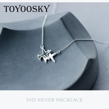 Real 925 Sterling Silver S925 Silver Collar Double Plane Aircraft Pendant Necklace Airplane Fashion Jewelry Chain New