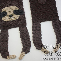 Crochet PATTERN - Sloth Scarf / Animal Scarf, Cute Scarf, Odd Scarf, Neck Warmer - PATTERN ONLY
