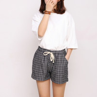 Summer new cotton plaid drawstring casual shorts