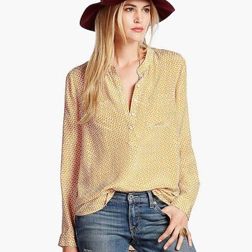 Lucky Brand Ditzy Bird Top Womens - Yellow Multi