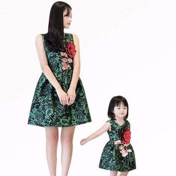 CREYLD1 Mother daughter dresses clothes family look children's girls wear sleeveless vest dress rose embroidered dress birthday gifts
