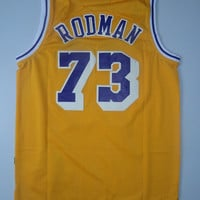 Dennis Rodman 73 Super Rare Old School Lakers Hardwood Classic Yellow Nba Sports Basketball Jersey All Stitched and Sewn Any Size S - XXL