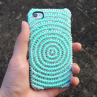 Rhinestone Pearl Mint Green Vortex Pattern Case