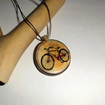 Custom Personalized pendant bicycle necklace. Natural wooden pendants necklace. Bike wooden custom pendant. Rustic personalised pendant wood