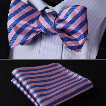BS224K Pink Blue  Stripe 100%Silk Jacquard Woven Men Butterfly Bow Tie BowTie Pocket Square Handkerchief Hanky Suit Set