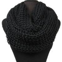 Big Thick Warm and Cozy Solid Crochet Black Infinity Scarf - Scarves