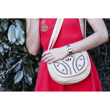 Tan Bohemian Floral Laser Cut Crossbody Bag