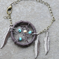 Dreamcatcher Bracelet Brown and Turquoise